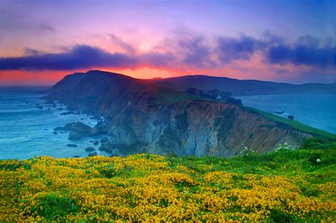 wallpaper point reyes sunset coast california nature