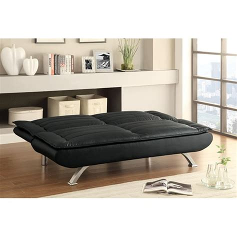black leather futon couch coaster 500055 black leather futon steal a sofa