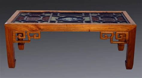 antique coffee table with stained glass top for sale at