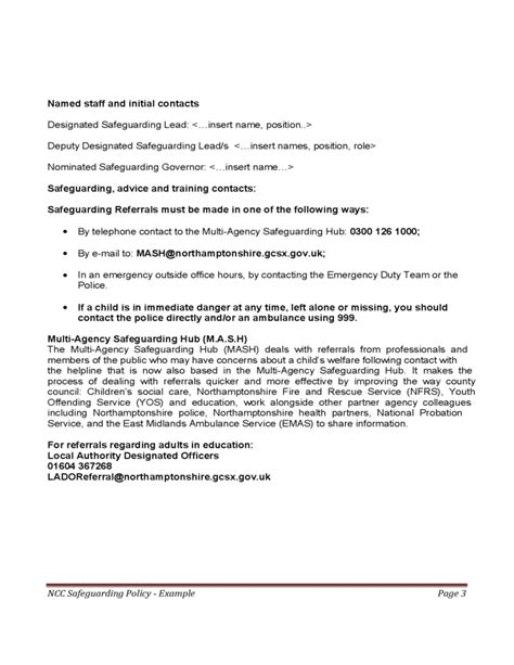 exle policy and procedures on safeguarding child
