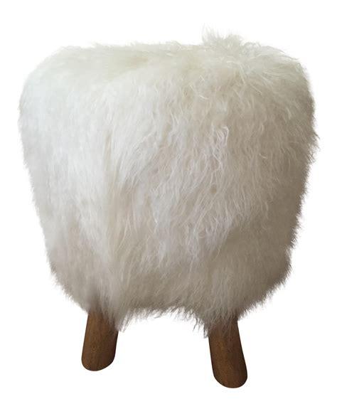 mongolian fur vanity stool mongolian faux fur stool chairish