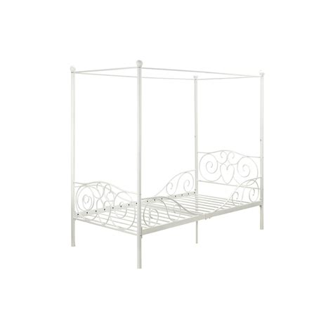 twin size canopy bed twin size white metal canopy bed with heart scroll design
