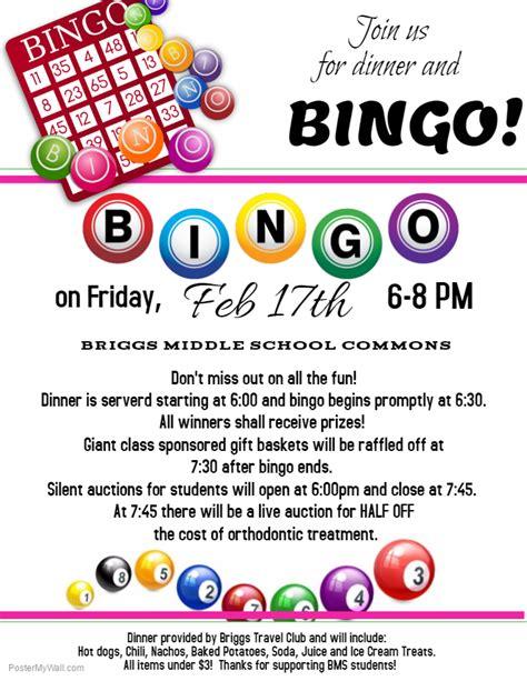 bingo flyer template briggs bingo briggs middle school