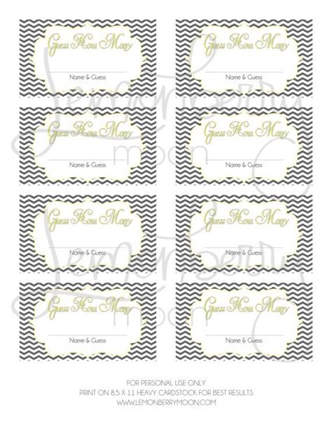 Guess How Many Printable Baby Shower Game Instant Download Yellow And Grey Ornate Or Custom Guessing Template