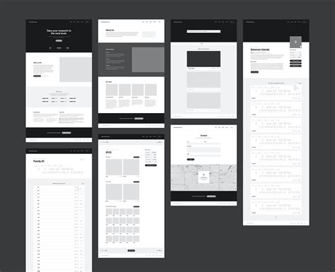 wireframes  dental research website  adam butler ux interfaces wireframe web