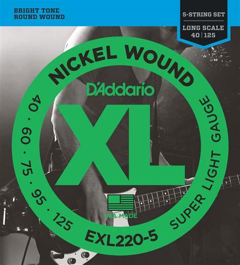 d addario d addario xl nickel wound electric 5 string bass guitar