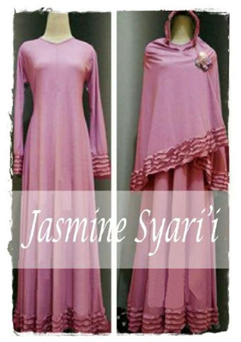 Gamis Pink Salem baju gamis set bergo y890 busana muslim simpel kalem