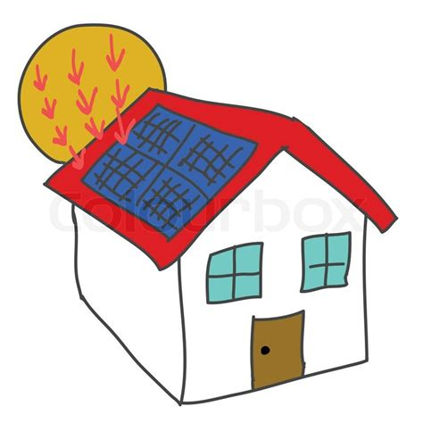 solar panels clipart solar energy house stock vector colourbox