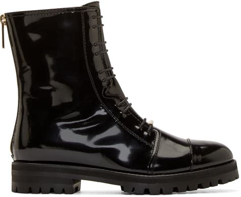 black combat boots for jimmy choo black patent flat combat boots in black lyst