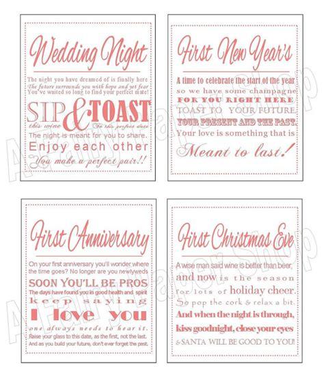 free printable bridal shower wine labels coral diy printable wine poem tags