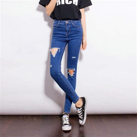 skinny jeans in or oyt in 2015 women skinny ripped jeans hole high waist jeans cut out