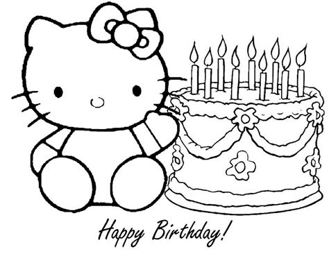 hello kitty happy birthday coloring page hello kitty coloring pages happy birthday az coloring pages