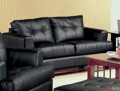 Living Room With Black Leather Sofa Samuel Black Bonded Leather Living Room Sofa And Loveseat Set Living Room Furniture Shop Factory