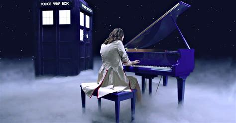 doctor who theme pianist emerges from tardis to play doctor who theme