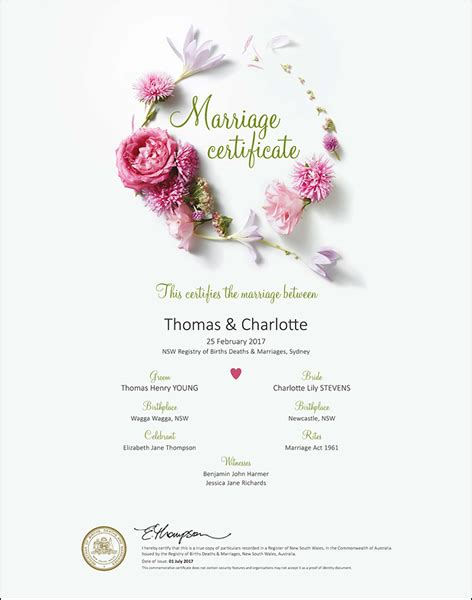 Marriage Records Nsw Free Marriage Certificate