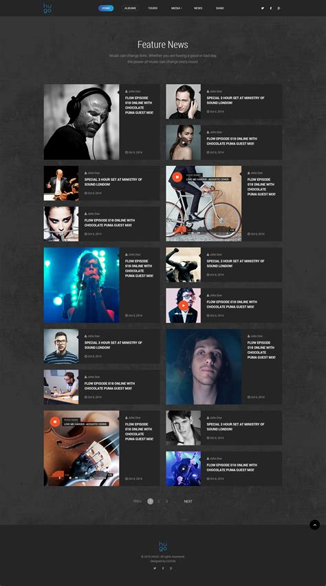 hugo themes forest hugo music artist singers bands wordpress by