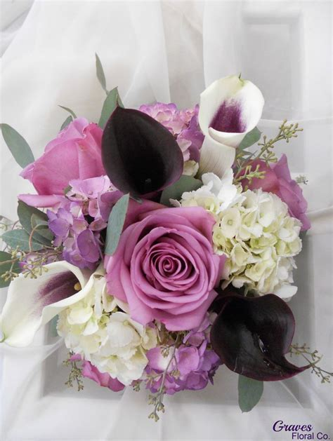 Calla Birdie Dress cool water roses and eggplant calla
