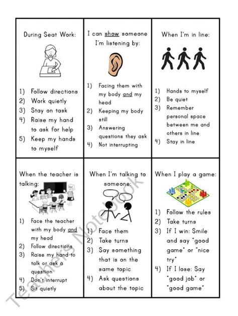 Worksheets For Autism Social Skills by Social Skills Reminder Cards I Like The Idea Of These