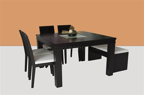 wenge finish modern square dining table w glass center