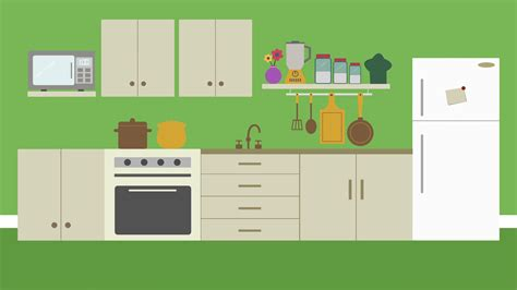 kitchen cartoon cartoon modern colorful home kitchen animation with space