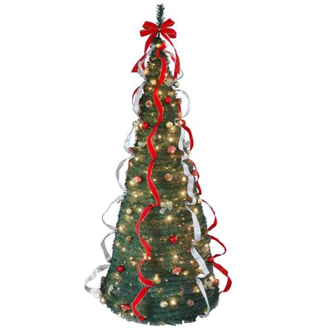 pop up christmas trees with lights national tree company 7 ft pop up artificial tree with decorations and 200 clear