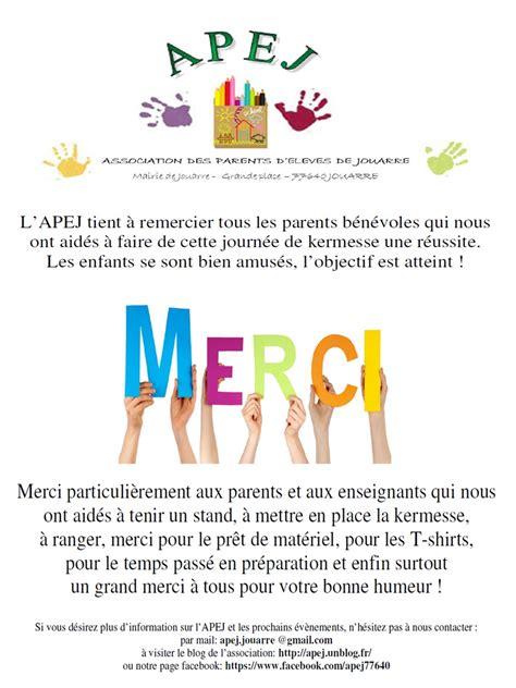 Lettre De Remerciement Kermesse Apej Association Des Parents D El 232 Ves De Jouarre 187 2015 187 Juin