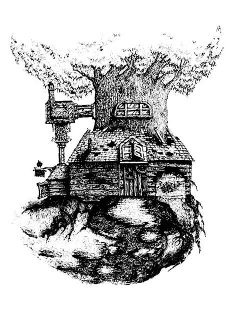 Whimsical House Plans tree house drawing by jamie stone