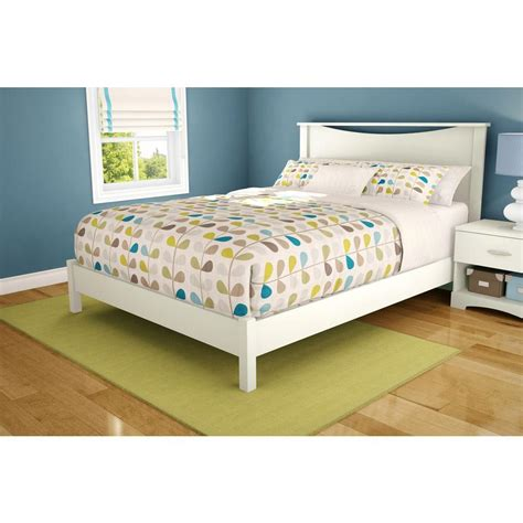 queen size white bed south shore step one queen size platform bed in pure white