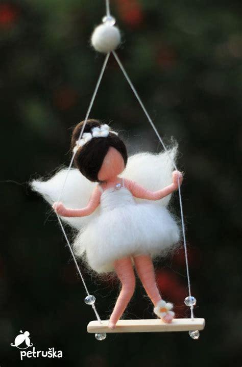 swing needle needle felted waldorf inspired fairiy in white on the