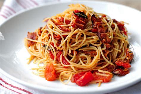 pasta capellini bacon tomato capellini tasty kitchen blog