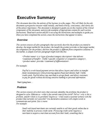 executive summary template template business