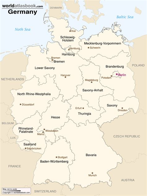 state map of germany germany map with states and cities