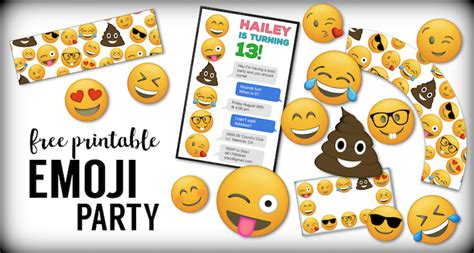 emoji  printables emoji birthday party supplies