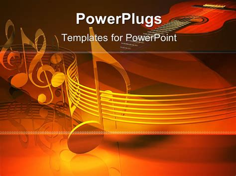 powerpoint template series of metallic musical notes