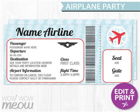 Airline Ticket Invitation Template Free Orderecigsjuice Info Airplane Birthday Invitation Template