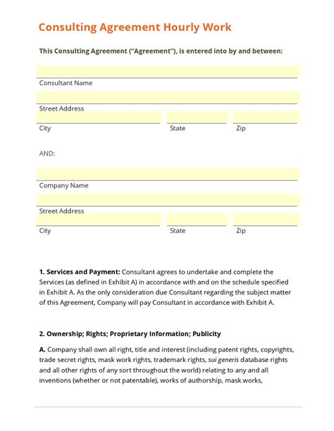 Business Form Template Gallery Hourly Employee Contract Template