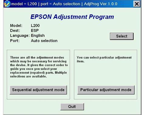 Adjustment Program Epson Reset L200 Download | epson l200 esp ver1 0 0 service adjustment program new