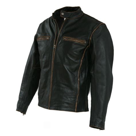Biker Motorcycle Faded Seams Vintage Leather Jackets For