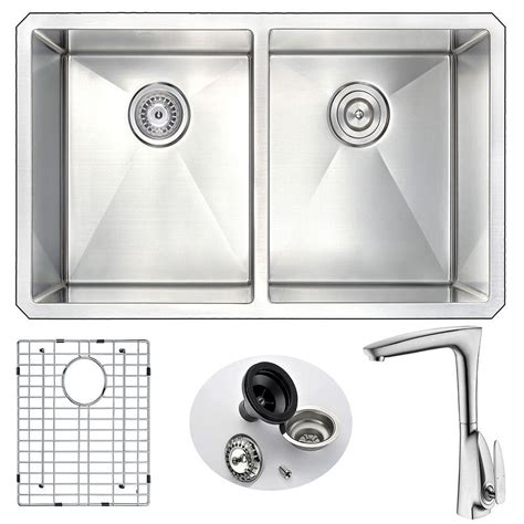 kitchen sink with faucet set anzzi vanguard undermount stainless steel 32 in