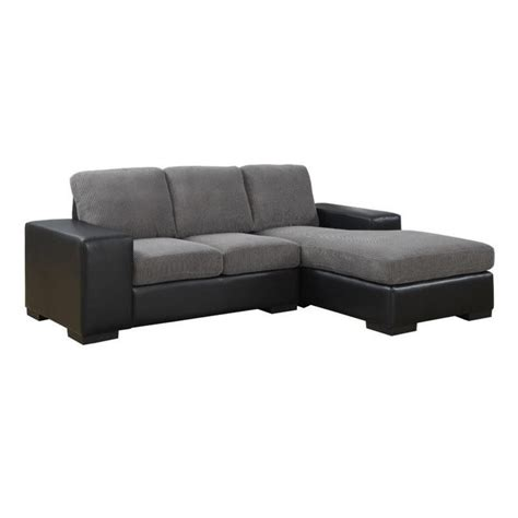 Corduroy Sectional Sofa Monarch Corduroy And Leather Sofa Lounger In Charcoal Gray Modern Sectional Ebay