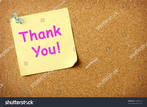 Thank You Letter Background Thank You Note Pinned Corkboard Background Stock Photo 12288142