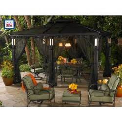 Gazebo With Netting And Lights by Grand Resort 10 Ft X 12 Ft Aluminum Roof Gazebo With Led