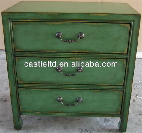 distressed antique green 3 drawer wood dresser stocklot furniture hand painted distressed three drawers