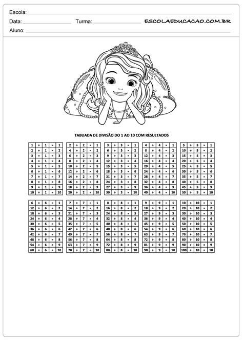 Atividade de tabuada para imprimir divisão de princesa