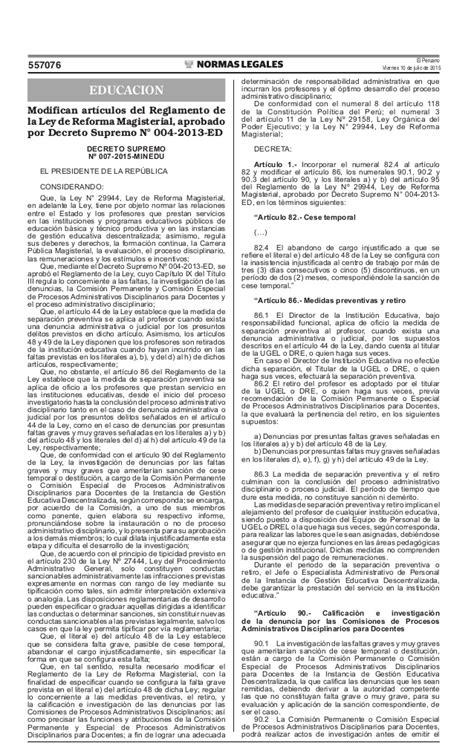 decreto supremo n 010 2015 minedu modifica el reglamento decreto supremo n 176 007 2015 minedu modifica art 237 culos del