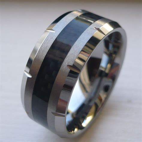 Eheringe 10mm by 10mm S Tungsten Carbide Wedding Band Ring With Black