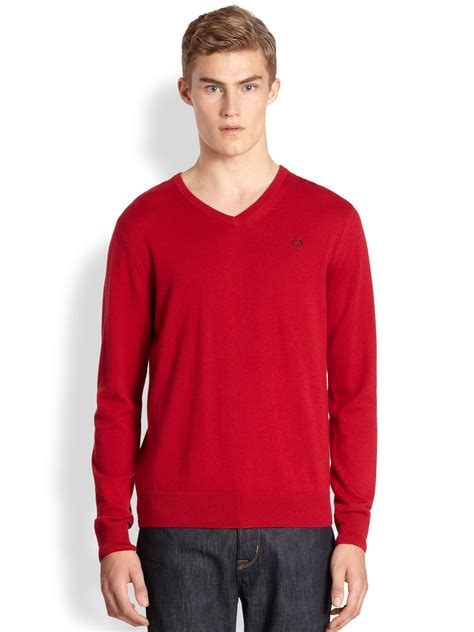 Sweater Fred Perry Lyst Fred Perry Classic Tipped Vneck Sweater In Blue For
