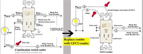 light switch silver combination gfci outlet wiring