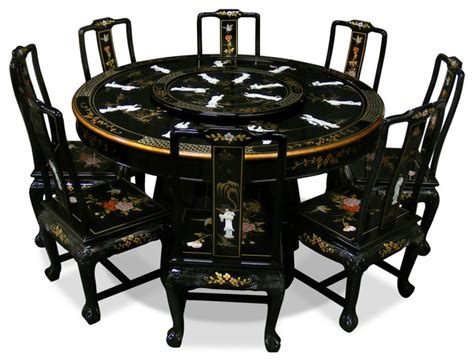 asian dining table 60in black lacquer dining table with 8 chairs asian