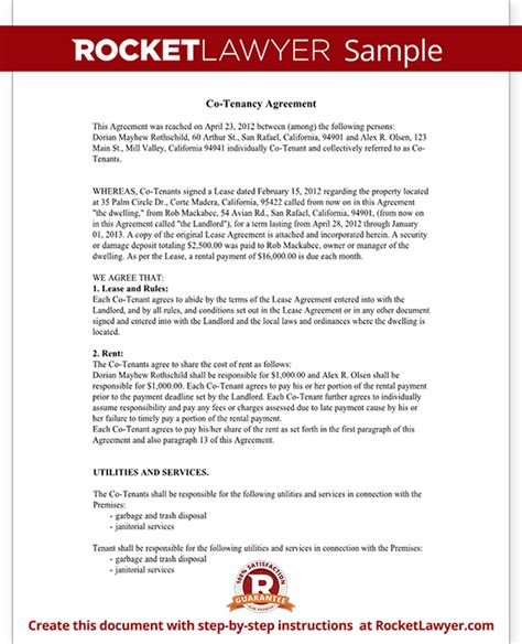 Tenant Agreement Letter Format Co Tenancy Agreement Form Co Tenant Contract Sle